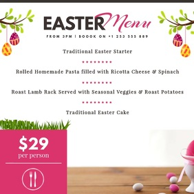 White Easter Menu Square Video template