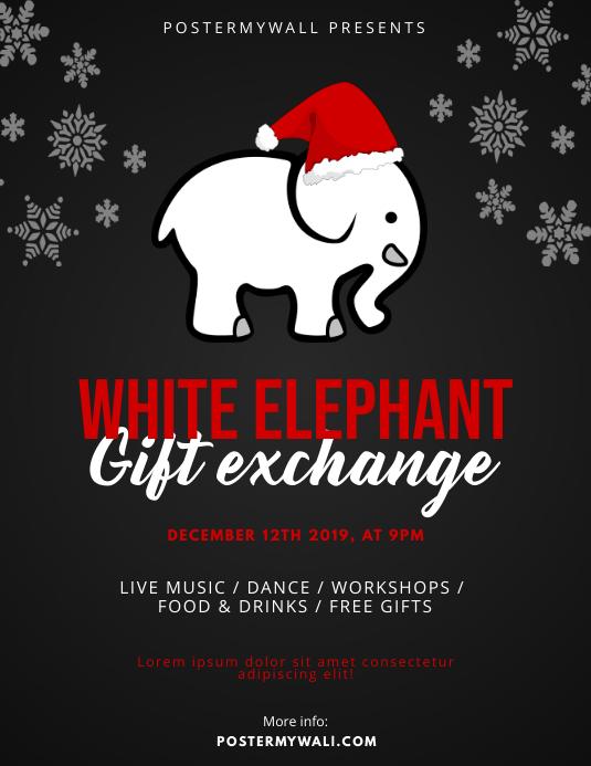 White Elephant Gift Exchange Flyer Design