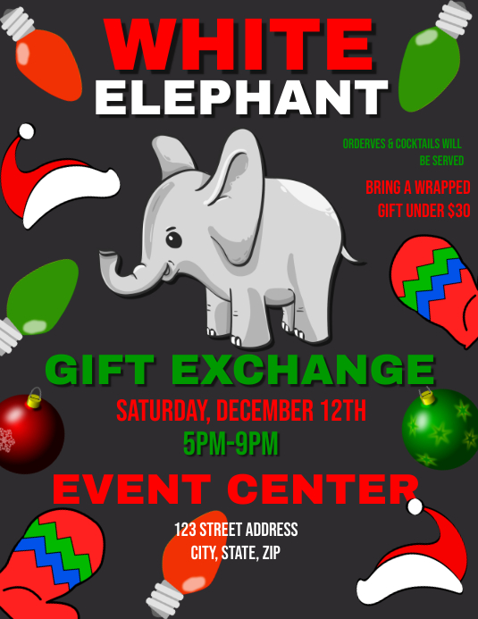 White elephant gift exchange template postermywall white elephant gift exchange negle Gallery