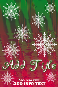 white falling snowflakes on red and green