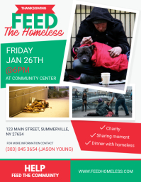 White Feed the homeless Charity Flyer