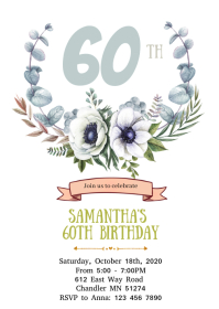 White Floral 60th birthday invitation