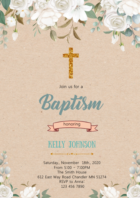 White floral baptism party invitation A6 template