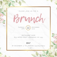 White Floral Ladies Brunch Invitation Wpis na Instagrama template