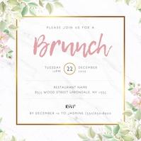 White Floral Ladies Brunch Invitation Wpis na Instagrama template