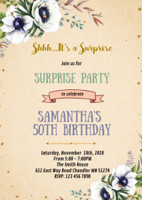 White floral shower party invitation