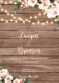 White flower rustic theme invitation A6 template