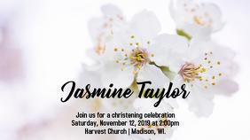 White Flowers Christening Invite