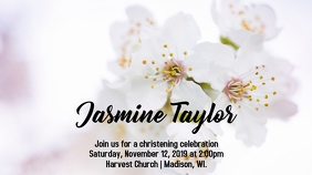 White Flowers Christening Invite