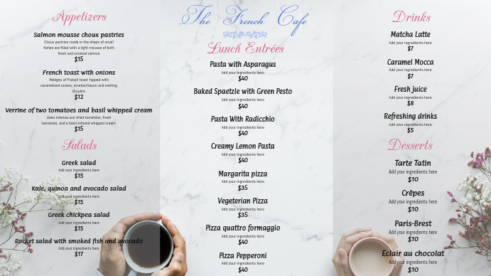 White French Cafe Menu Template  Postermywall