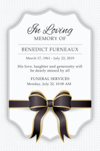 White Funeral Service Invite Poster
