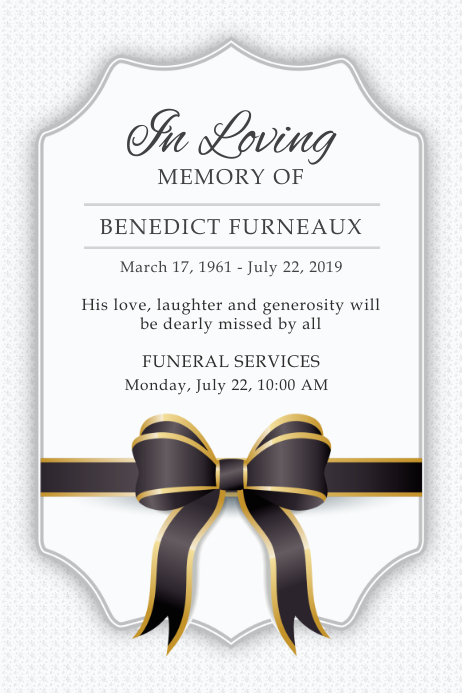 White Funeral Service Invite Poster Póster template