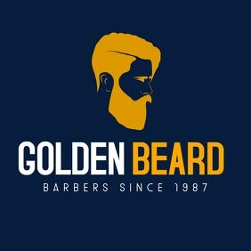 white gold and dark blue barbershop logo temp