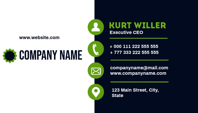 White Green Blue Business Card Template Postermywall