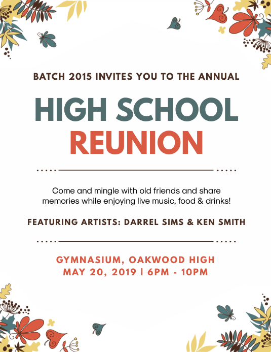 White High School Reunion Party Flyer Invite