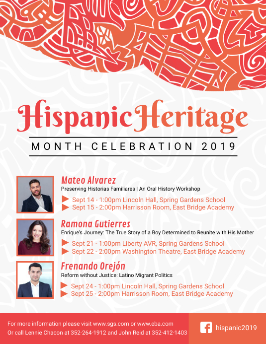 White Hispanic Heritage Month Event Schedule