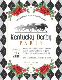White Kentucky Derby Party Flyer 传单(美国信函) template