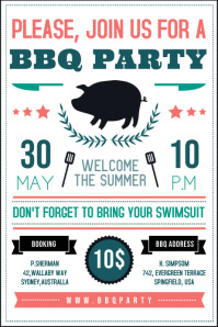 White Local BBQ Invitation Poster