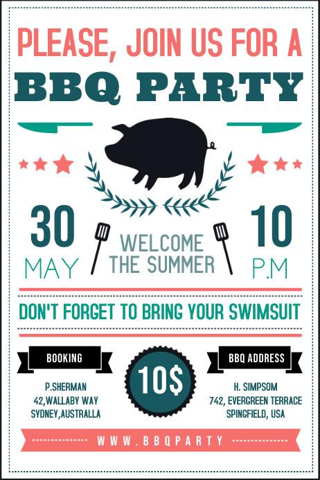 White Local BBQ Invitation Poster