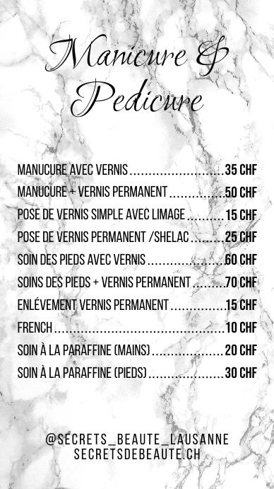White Marble Fashion Pricelist Price List Tampilan Digital (9:16) template