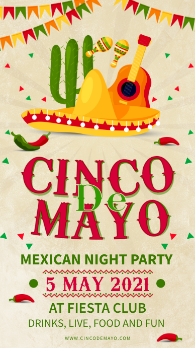 White Modern Cinco de Mayo Party Invite Digital Display (9:16) template