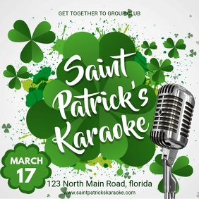 White Modern St Patty's Day Karaoke Invite
