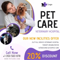 White Modern Veterinary Advert โพสต์บน Instagram template