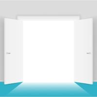 White open doors illustration design Instagram Post template