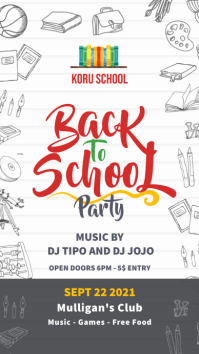 White paper back to school party invite story Instagram na Kuwento template