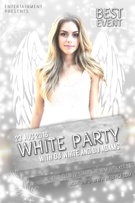 white party event affair concert poster template