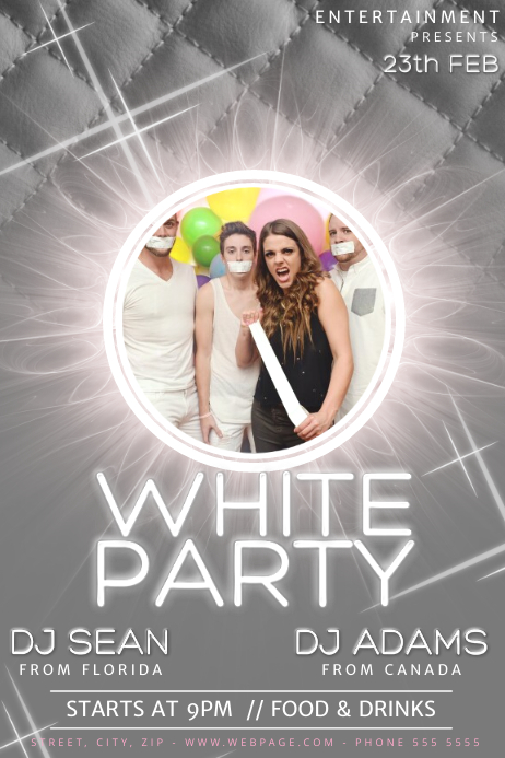 White Party Flyer Template Postermywall