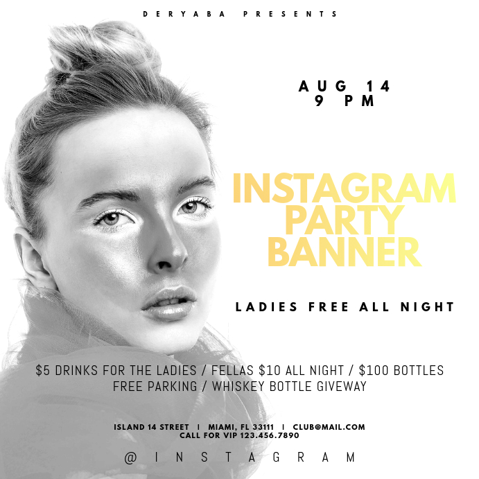 White Party Instagram Banner Template