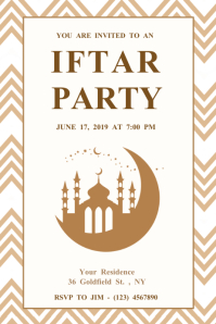White Ramadan Iftar Party Poster Template