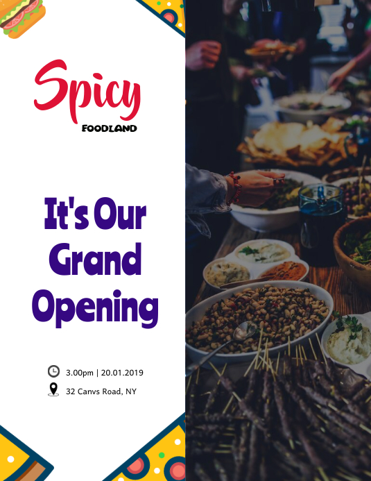 White Restaurant's Grand Opening Flyer Template