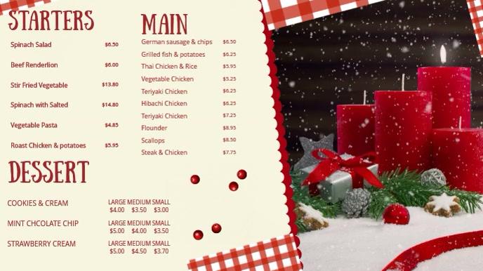 White Restaurant Christmas Display Menu Tampilan Digital (16:9) template