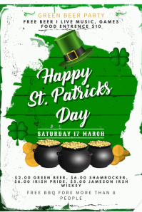 White Saint Patrick's Bar Poster Template