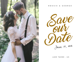 White Save The Date Card Template