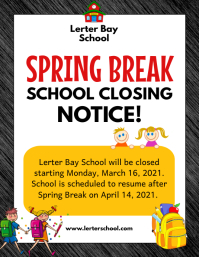 White school holiday notice flyer template