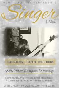 white silver gold bokeh singer concert flyer template