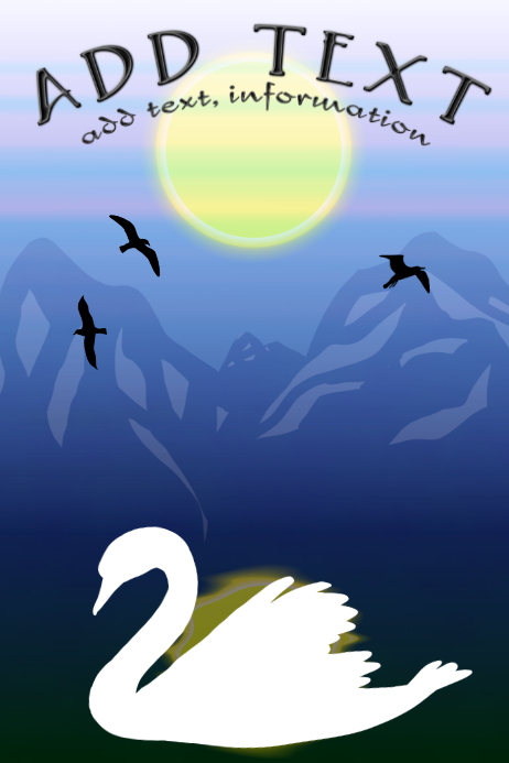 white swan & snow melting from wilderness and birds- mountains template