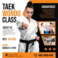 White Taekwondo Classes Instagram Post Templa template