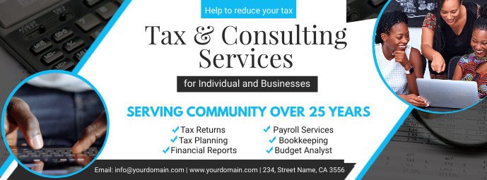 White Tax Services and Preperation Banner Couverture Facebook template