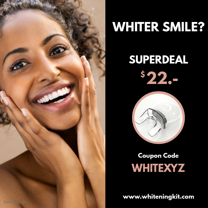 White teeth withening kit dental advert smile