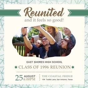 White University Reunion Party Invite Square (1:1) template