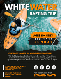 White Water Rafting Adventure Trip Flyer Template Folheto (US Letter)
