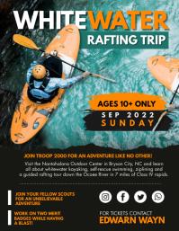 White Water Rafting Adventure Trip Flyer Template Folheto (US Letter)