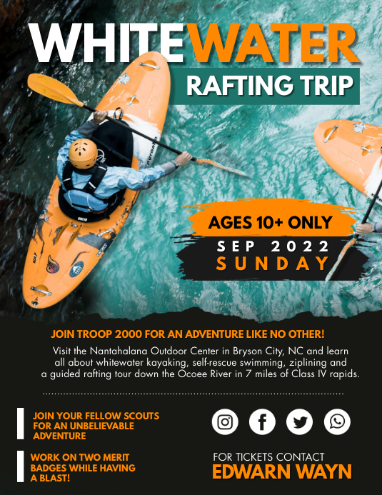 White Water Rafting Adventure Trip Flyer Template
