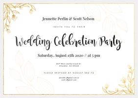 White Wedding Invitation Postcard template