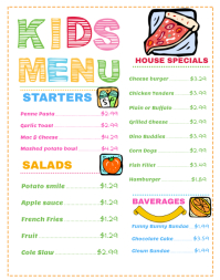 Wide Kids Menu Template