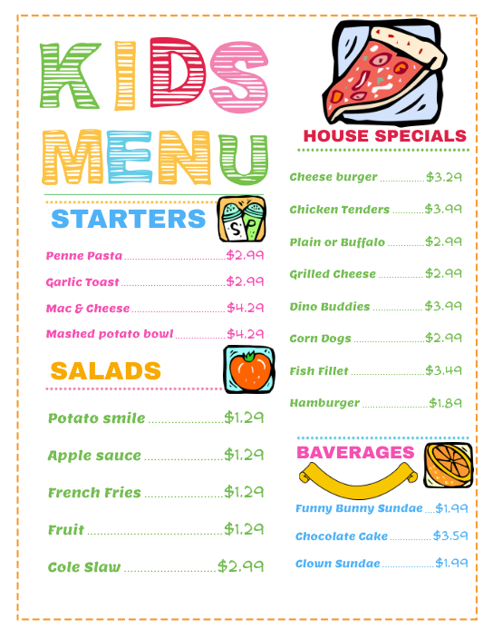Wide Kids Menu Template  Kids Menu Templates